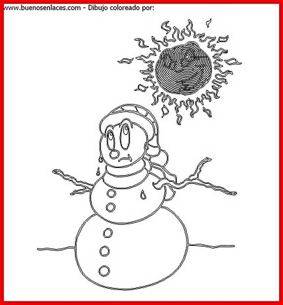 dibujo de muneco de nieve para colorear e imprimir.