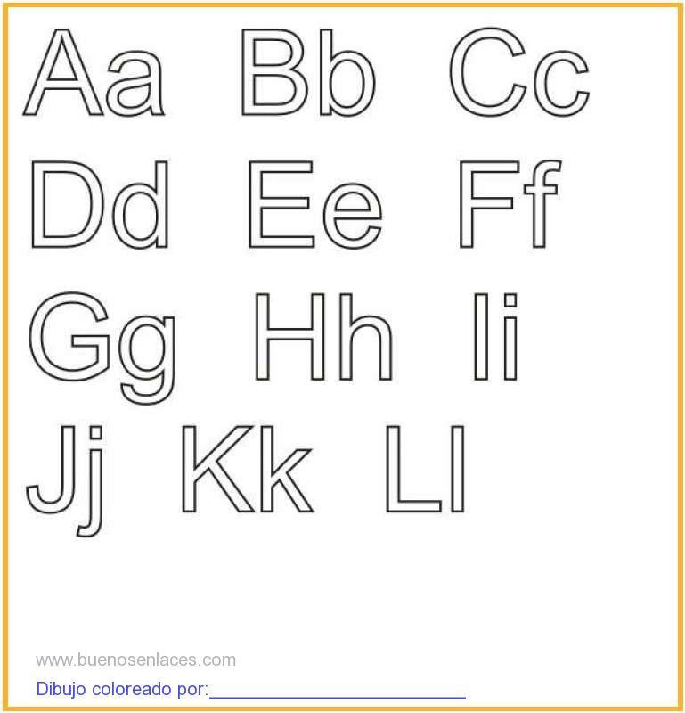 dibujo de abecedario para colorear e imprimir.