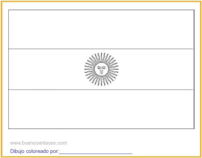 dibujo de bandera de Argentina para colorear e imprimir.