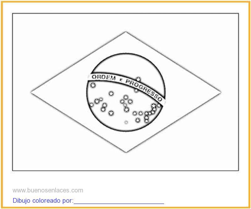 dibujo de bandera de Brasil para colorear e imprimir.