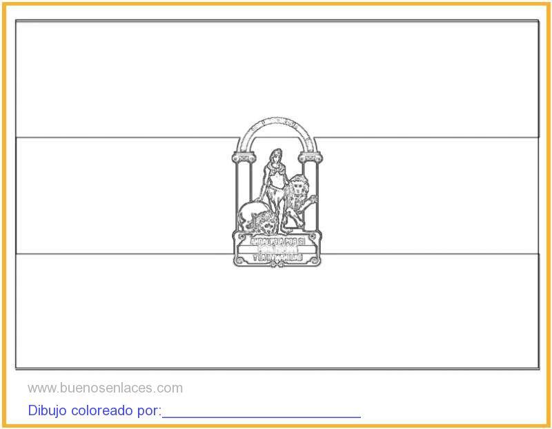 dibujo de bandera de Andalucía para colorear e imprimir.