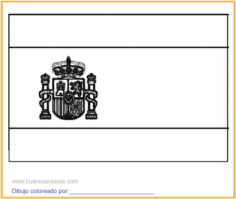 dibujo de bandera de España para colorear e imprimir.