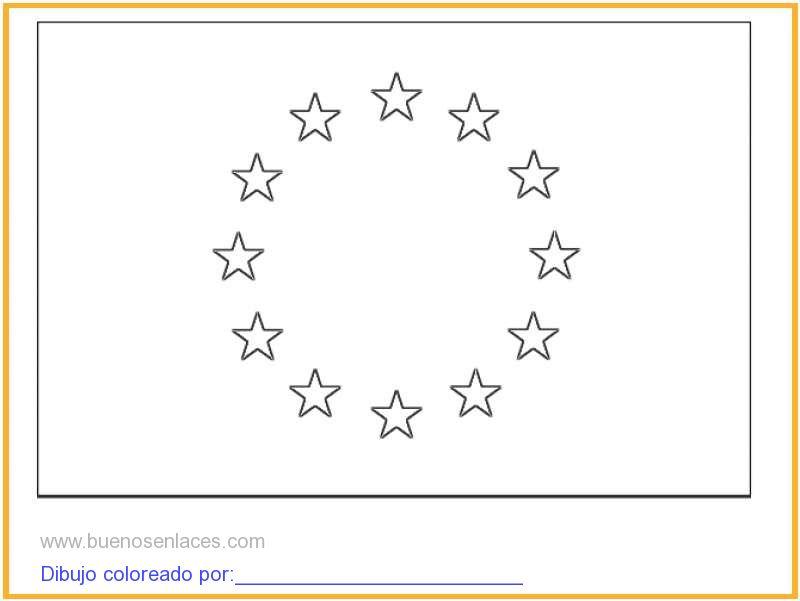 dibujo de bandera de Europa para colorear e imprimir.