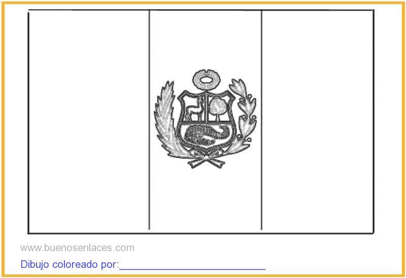 dibujo de bandera del Perú para colorear e imprimir.