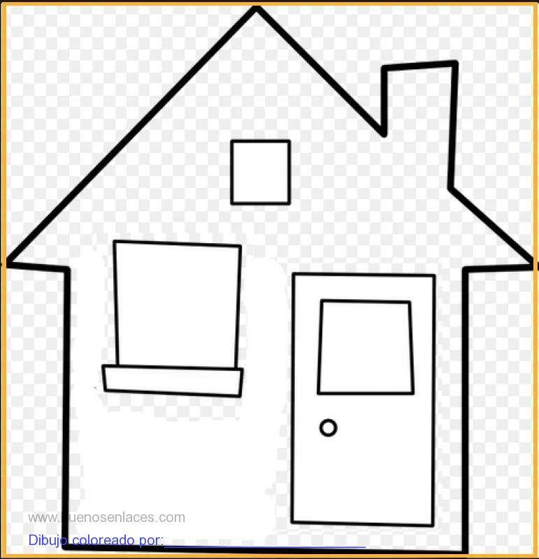 dibujo de casa con cimenea para colorear e imprimir.
