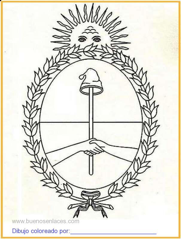 dibujo de escudo de Argentina para colorear e imprimir.