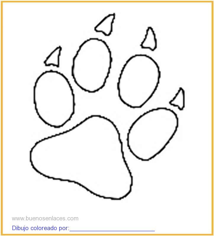 dibujo de huellas de animales para colorear e imprimir