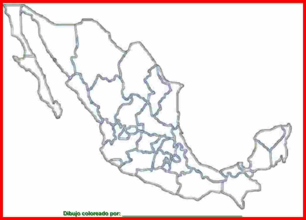 dibujo de mapa de México para colorear e imprimir.