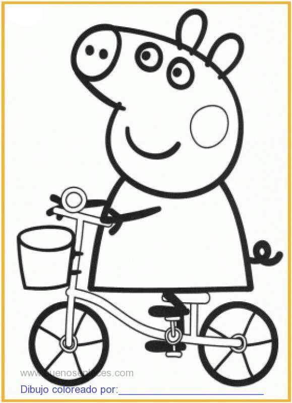 dibujo de peppa pig en bicicleta para colorear e imprimir.