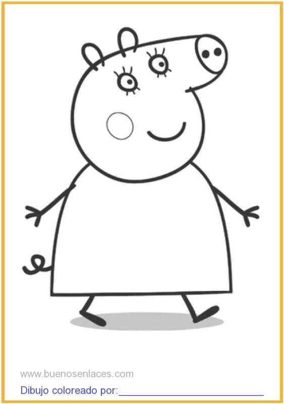 dibujo de peppa pig paseando para colorear e imprimir.
